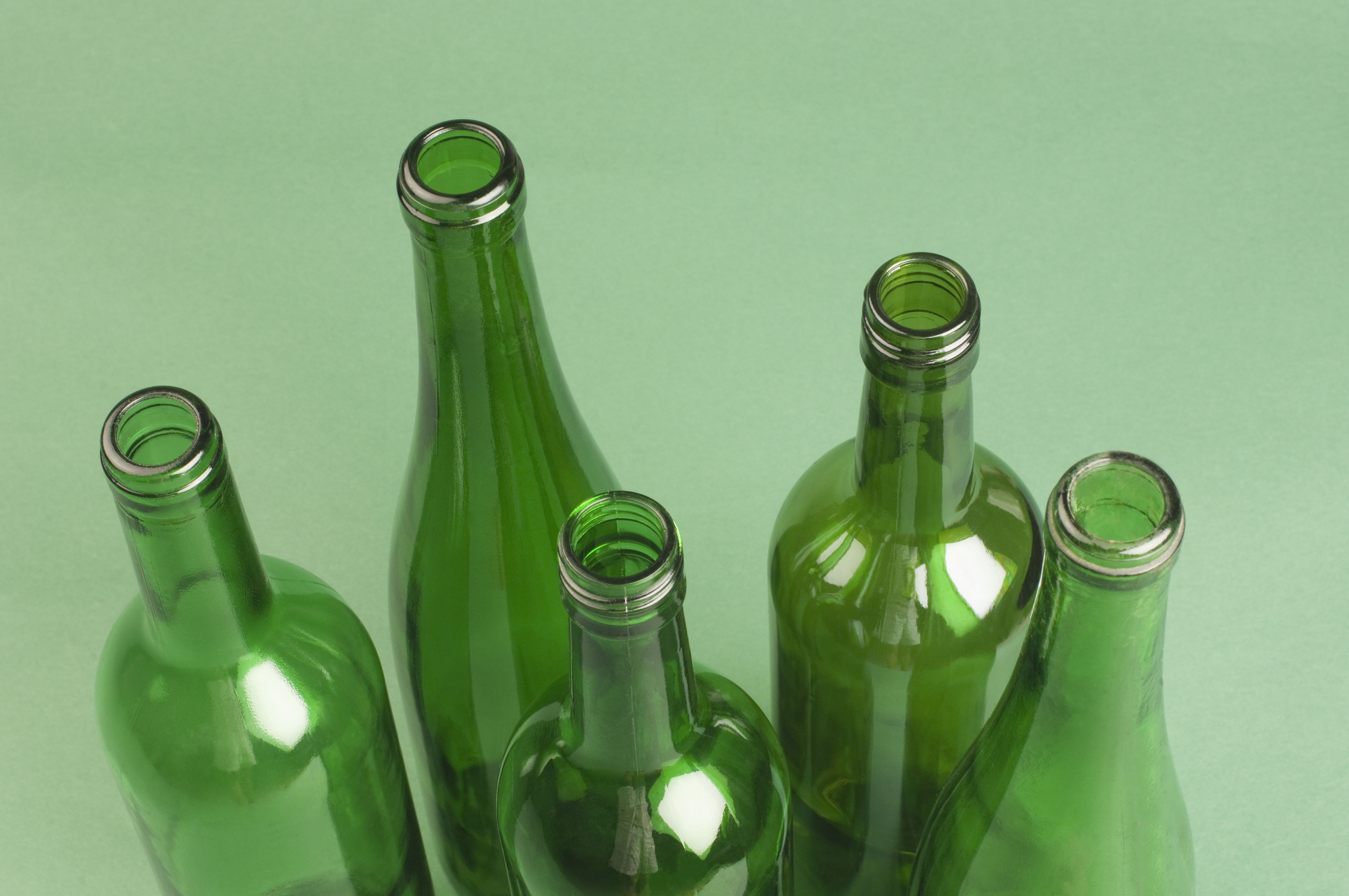 Close-up of empty bottles