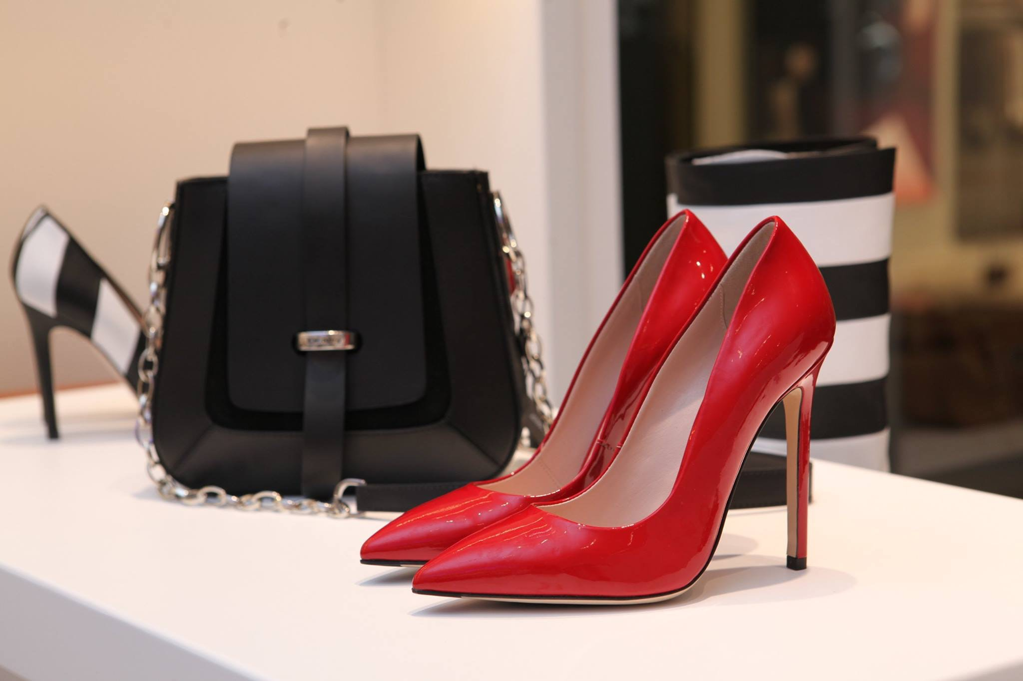High heel shoes on display in store
